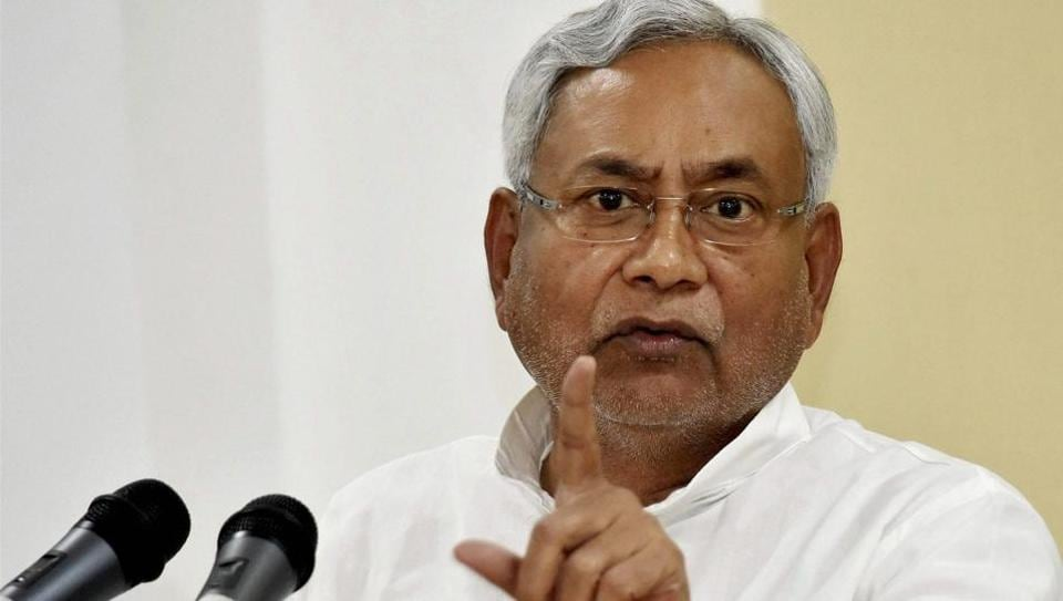 Bihar CM Nitish Kumar addresses a press conference in Patna on Monday.