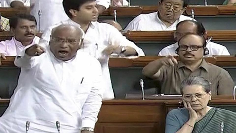 Congress leader Mallikarjun Kharge speaks in the Lok Sabha in New Delhi. He said in Parliament on Monday that Gujarat Congress leaders were under pressure.