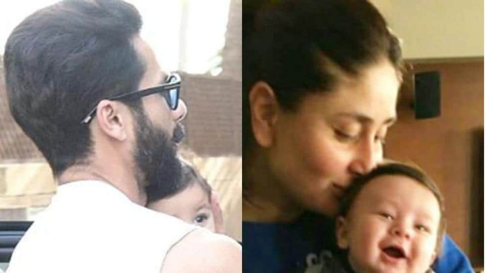 Shahid Kapoor and Kareena Kapoor with their babies Misha and Taimur.
