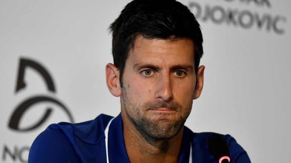 Former world No.1 tennis player Novak Djokovic speaks during a news conference in Belgrade.
