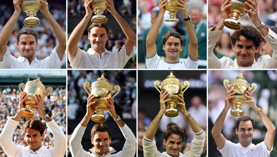A combination of photographs created on July 16, 2017 shows Switzerland's Roger Federer holding up the Wimbledon Championships trophy after winning each of his eight men's singles titles at The All England Tennis Club in Wimbledon. Top row (L-R) 2003, 2004, 2005, 2006, (bottom L-R) 2007, 2009, 2012 and July 16, 2017. Roger Federer won a record eighth Wimbledon title and became the tournament's oldest champion with a straight-sets victory over injury-hit Marin Cilic, who dramatically broke down in tears midway through the final.