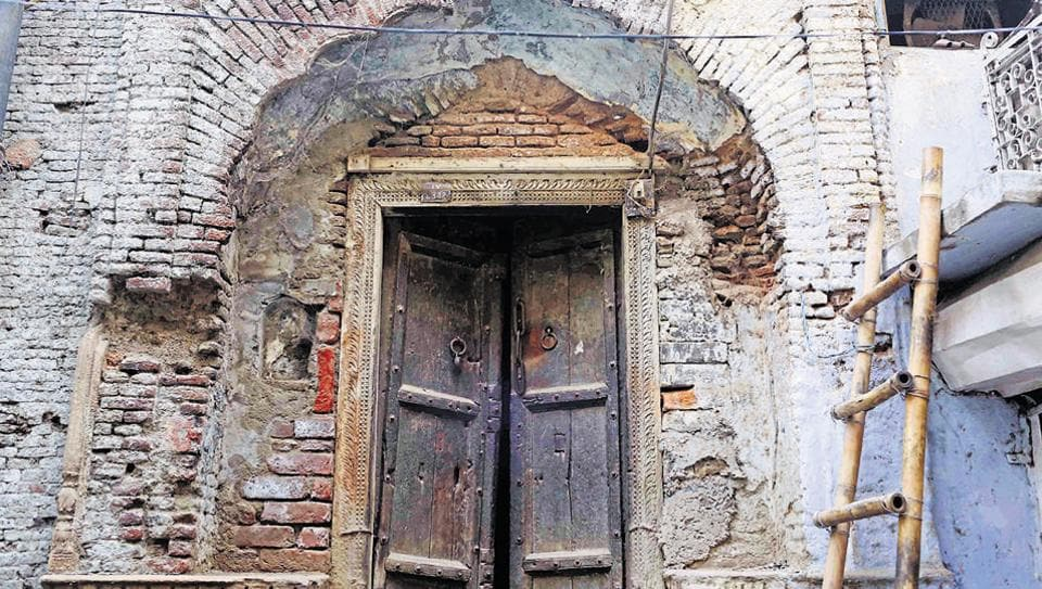 A doorway in Old Delhi's Bulbuli Khana.