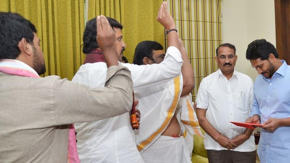 A group of priests blessing  YSRCongress president  YSJaganmohan Reddy at his residence recently.