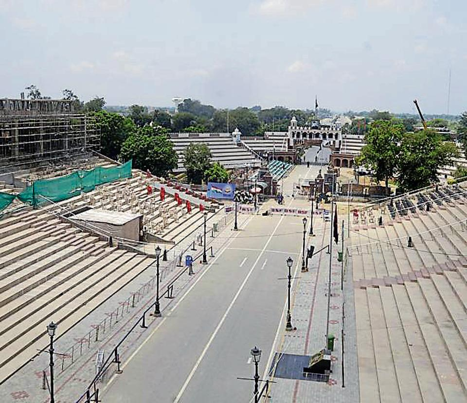 A view of the under-construction visitors' gallery at Attari border near Amritsar on Tuesday.
