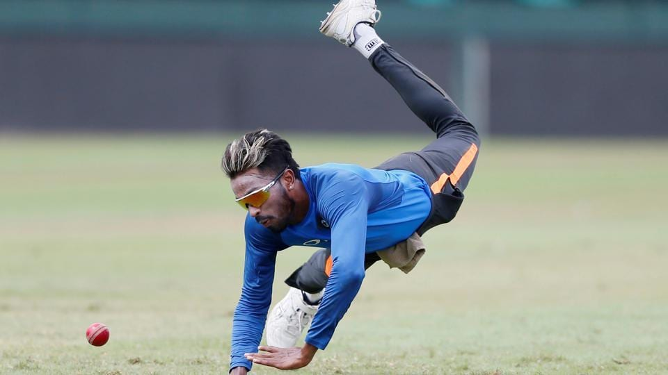 Hardik Pandya is an able fielder, but that didn't stop him from putting in the hard yards in practice.   (REUTERS)