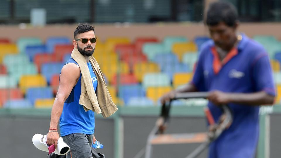 Virat Kohli arrives for practice at the Sinhalease Sports Club (SSC) Ground in Colombo.  (AFP)