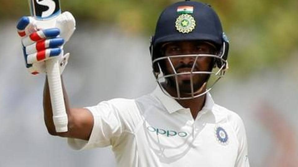 Hardik Pandya celebrates his half century during the first Test between India and Sri Lanka in Galle.