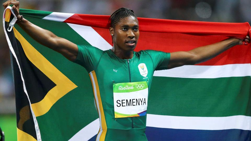 Caster Semenya of South Africa celebrates after winning the women's 800 m race at the Rio Olympics last year.