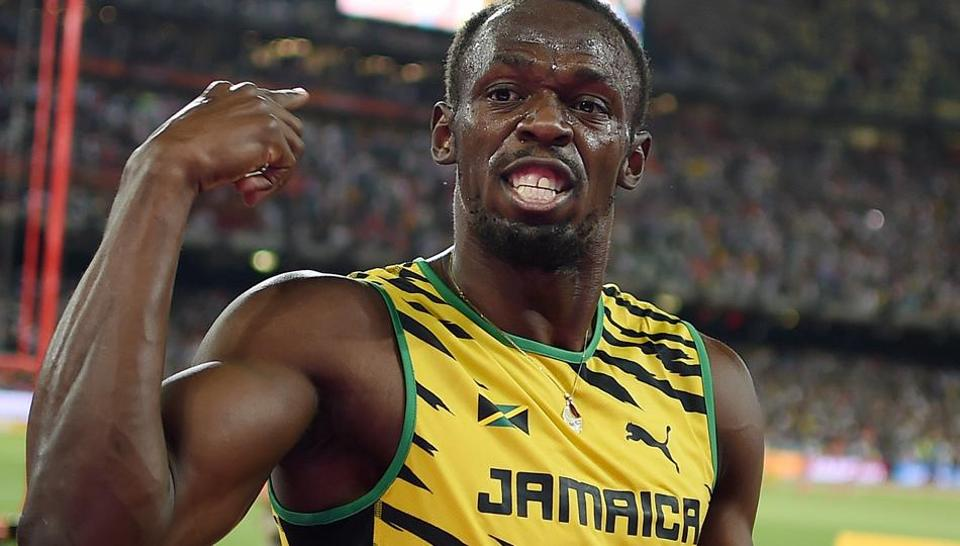 This file photo shows Jamaica's Usain Bolt celebrating winning the final of the men's 100 metres event at the 2015 IAAF World Championships at the