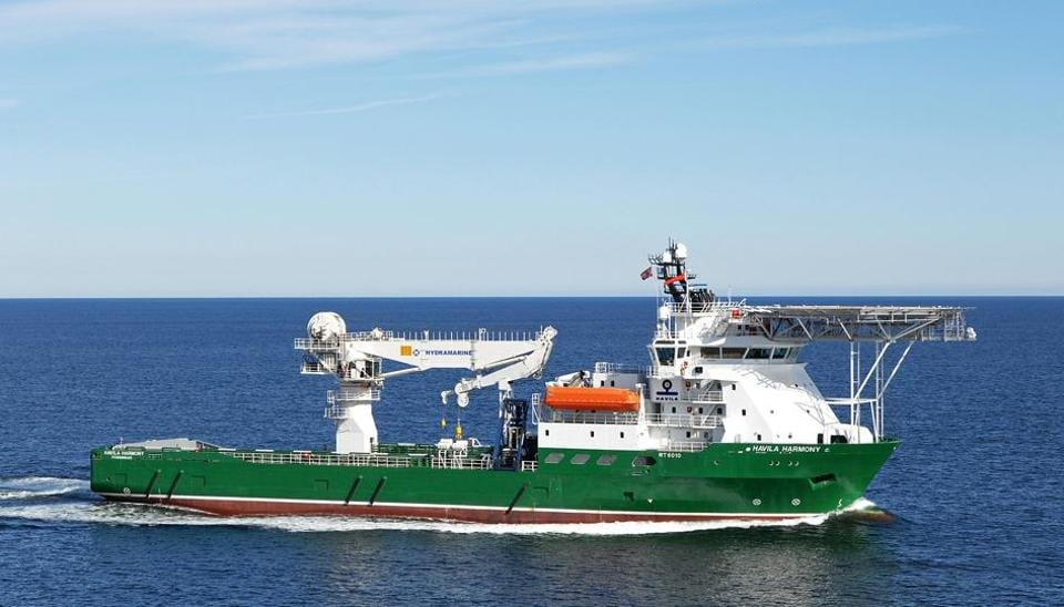 An undated and unplaced handout photo obtained from the Australian Transport Safety Bureau (ATSB) on December 3, 2015, shows Havila Harmony, one of three ships that scoured the southern Indian Ocean for the remains of missing Malaysia Airlines flight MH370.