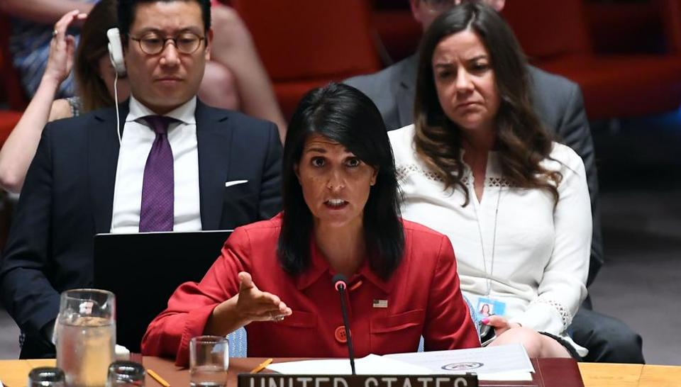 This file photo taken on July 5, 2017 shows US Ambassador to the United Nations Nikki Haley speaks during a Security Council meeting on North Korea at the UN headquarters in New York.