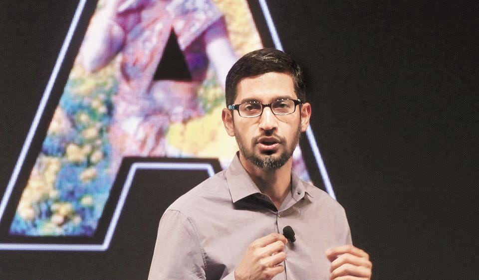 Sundar Pichai, CEO Google at an event on his visit to India in 2015.