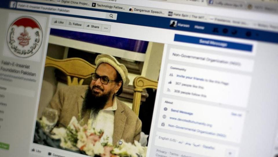 A Facebook site features the image of JuD chief Hafiz Saeed.