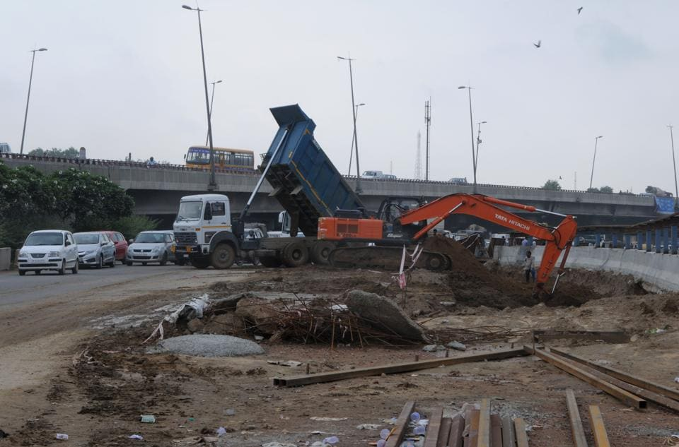 NHAI officials said that the construction of underpasses at Rajiv Chowk has affected its condition.