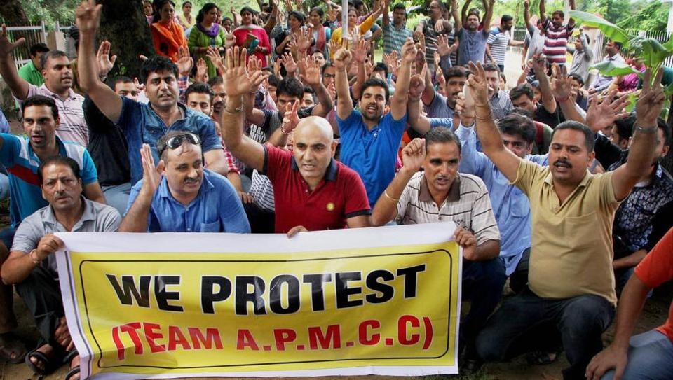 Jammu: Members of Kashmiri Migrant Employees working in Kashmir Valley staged a massive protest against the administration seeking guarantee of security for migrant employees, in Jammu on July 24, 2017.