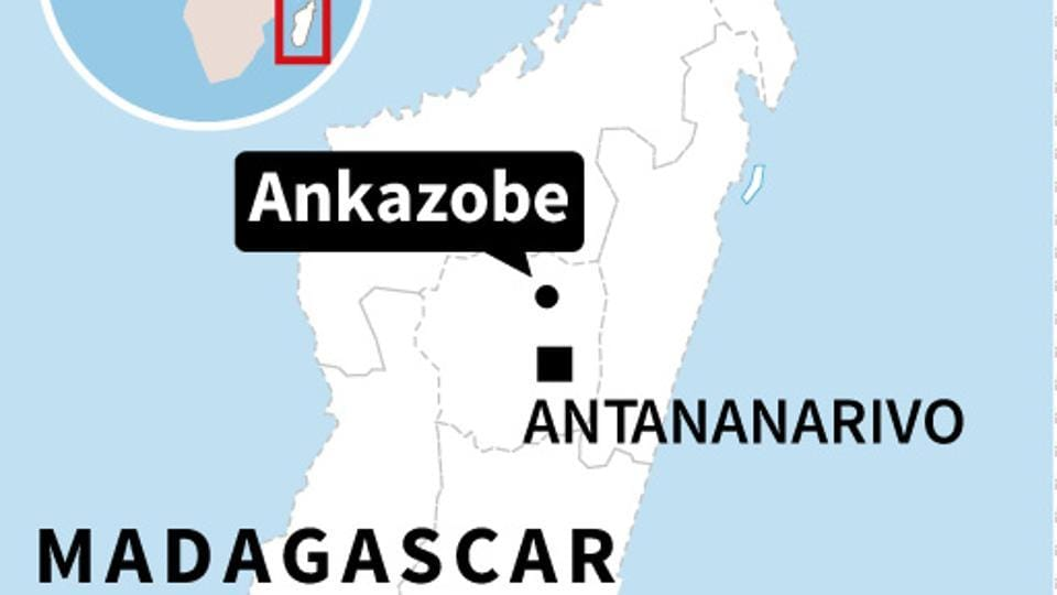 Map locating Ankazobe in Madagascar, where dozens of people died in a bus crash.