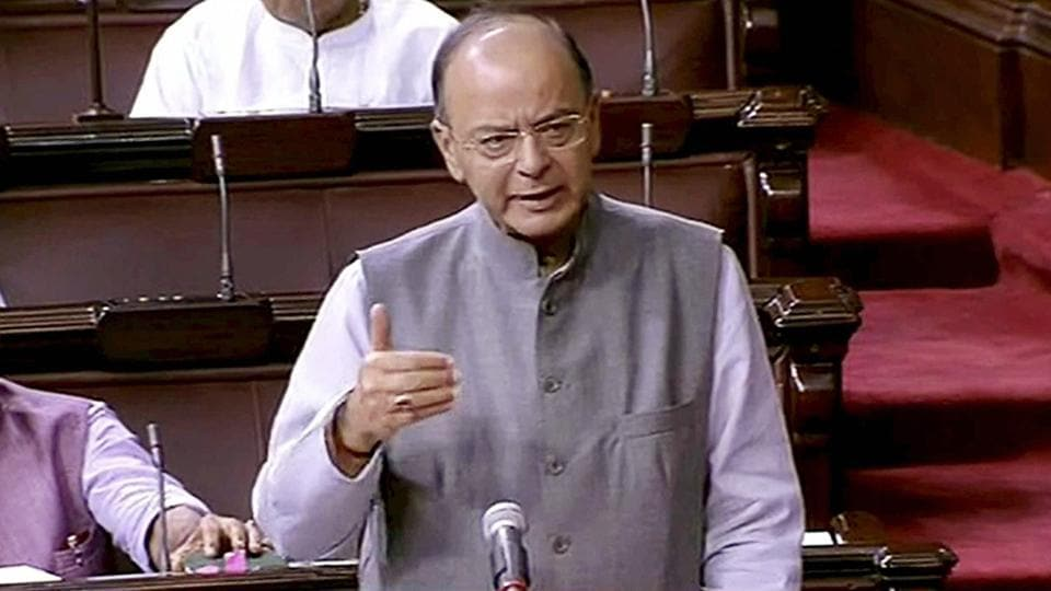 Finance Minister Arun Jaitley speaks in the Rajya Sabha during the ongoing monsoon session, in New Delhi on Tuesday.