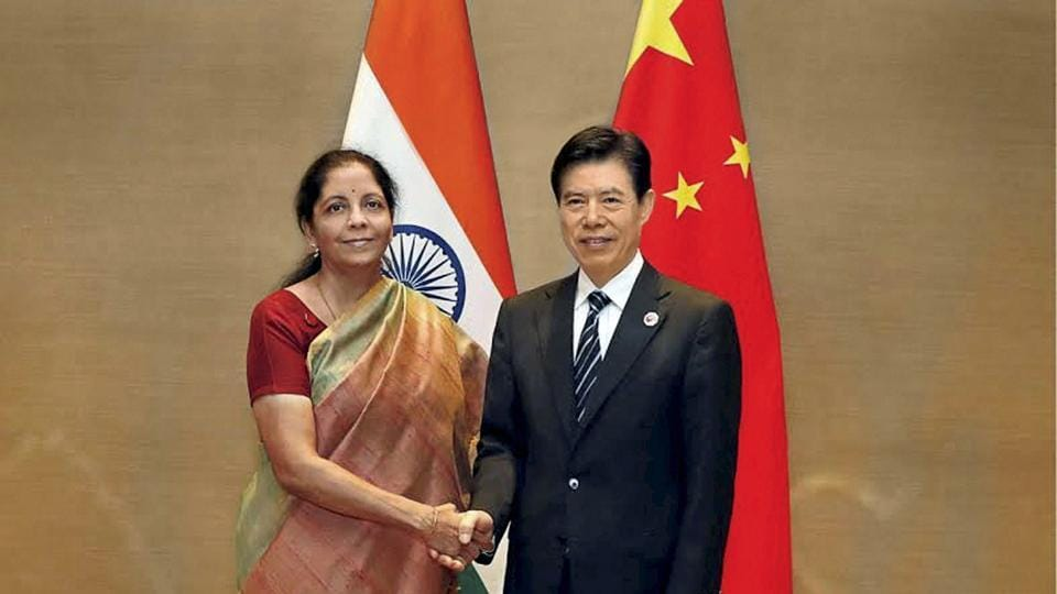 Minister of state for commerce and industry, Nirmala Sitharaman meeting her Chinese counterpart, Zhong Shan on the sidelines of BRICS Commerce Ministers meeting in Shanghai on August 1.