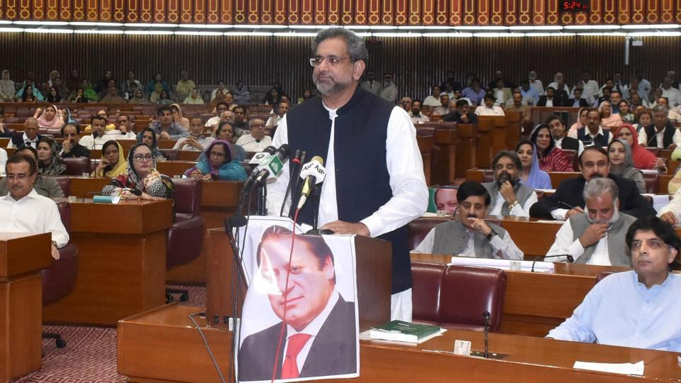 In this handout photo released by Pakistan's Press Information Department on August 1, 2017, newly elected Prime Minister Shahid Khaqan Abbasi speaks in Parliament in Islamabad. The Parliament elected the ruling PML-N party loyalist as prime minister days after Nawaz Sharif was ousted by the Supreme Court following a corruption probe.