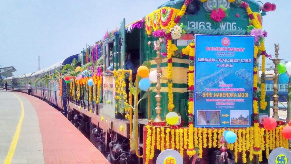 With hundreds of devotees travelling long distances to pay homage to their respective deities, PM Modi on July 27, 2017 flagged off a new express train, Shraddha Sethu Express, which connects the two important pilgrimage centres of Rameswaram and Ayodhya along a distance of 2921 km. (PTI)