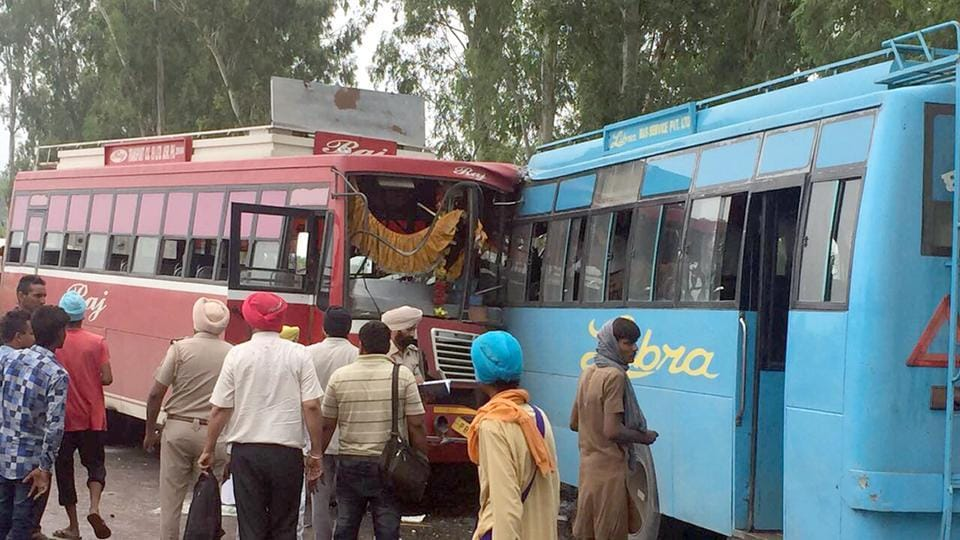 Damaged buses after the collision near Sarhali, 25 km from Tarn Taran, on Tuesday.