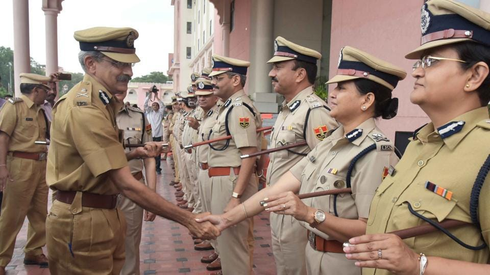 Rajasthan's newly appointed director general of police (DGP) Ajit Singh Shekhawa meets police officers in Jaipur on Tuesday.