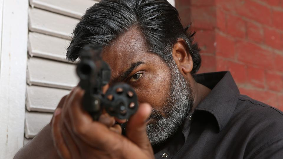 Vijay Sethupathi as a gangster in Vikram Vedha, which also starred R Madhavan.