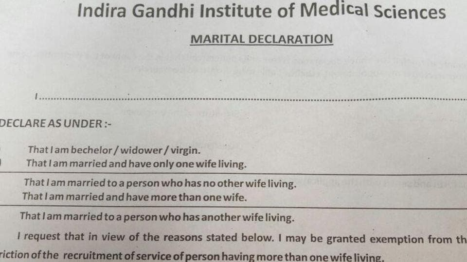 IGIMS Patna asks employees to declare their virginity in a marital status declaration form.