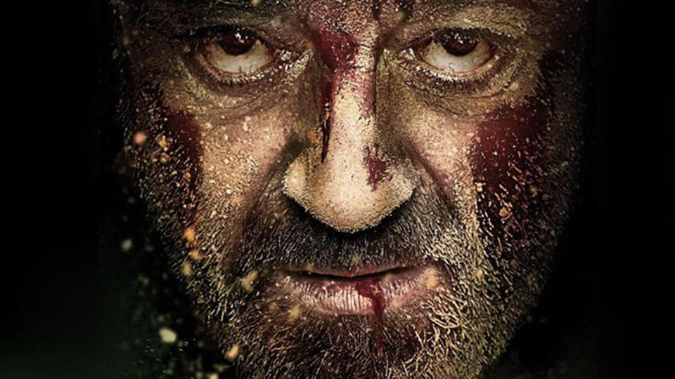Actor Sanjay Dutt's poster of his upcoming revenge drama film Bhoomi. His last role was in PK (2014).