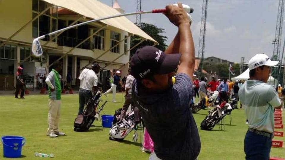 Shiv Kapur in practice ahead of the Take Solutions Masters in Bangalore.