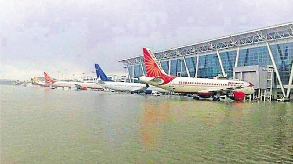 A picture of the flooded Chennai airport from December 2015 that was circulated as that of the Chandigarh International Airport following heavy rain last Thursday.