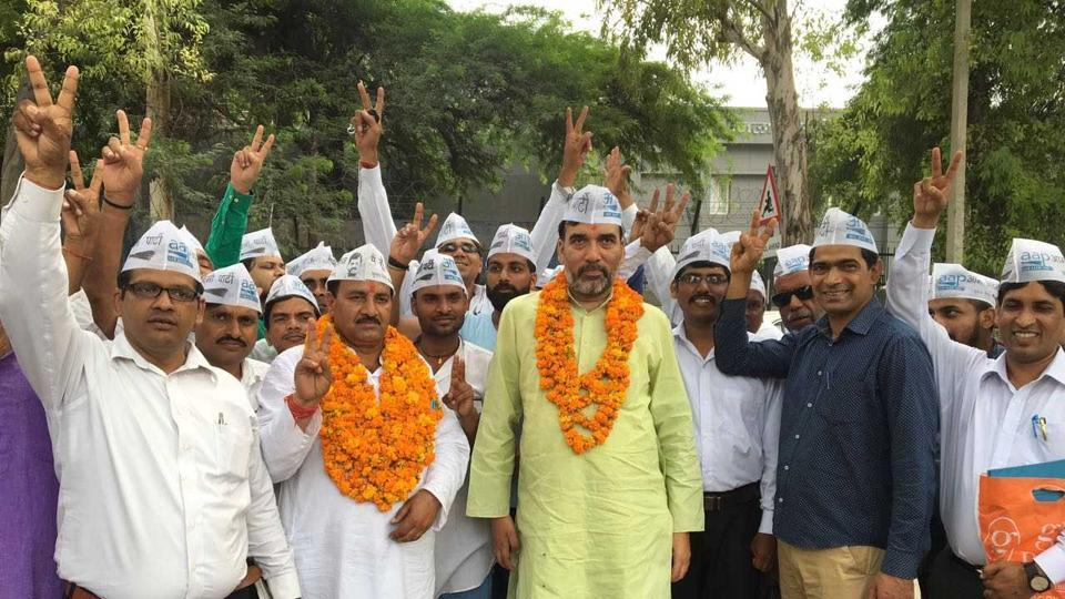 Aam Aadmi Party candidate Ram Chandra after filing his nomination.