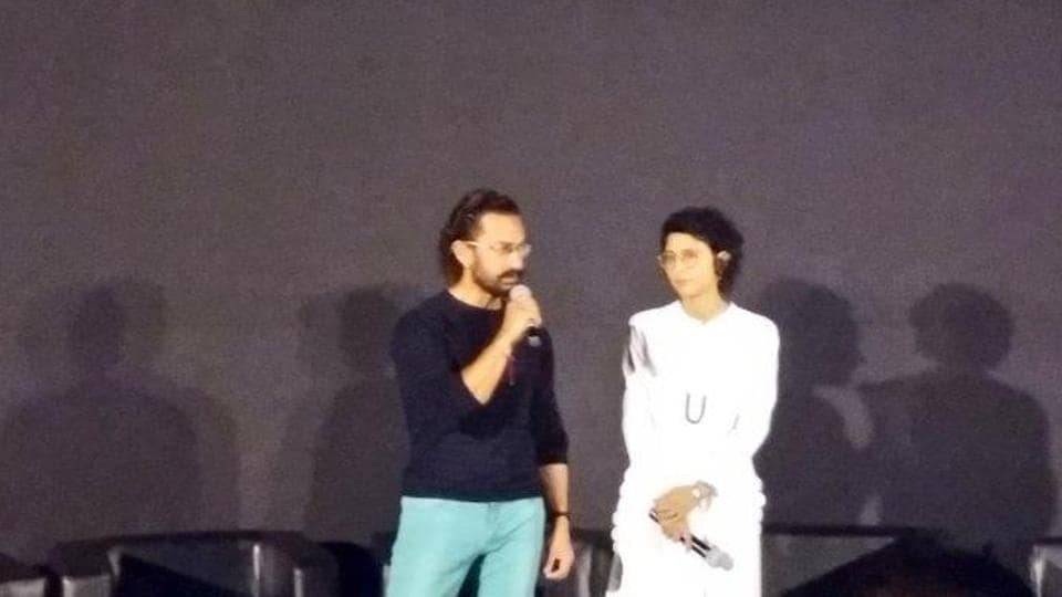 Aamir Khan and Kiran Rao at the trailer launch of Secret Superstar.