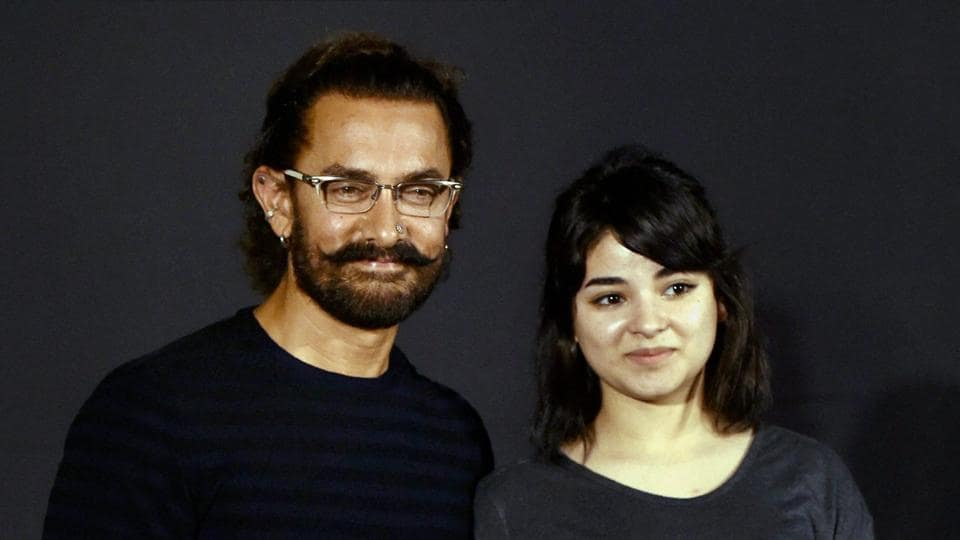 Bollywood actor Aamir Khan along with  Zaira Wasim during the trailer launch film Secret Superstar in Mumbai on Wednesday.