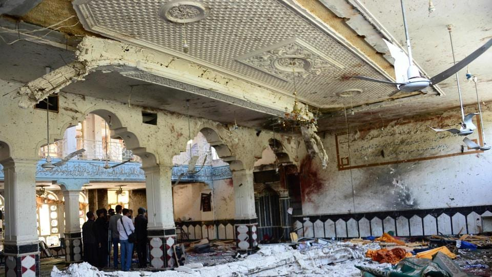The Shia mosque after it was attacked by suicide bombers in Herat on Tuesday.