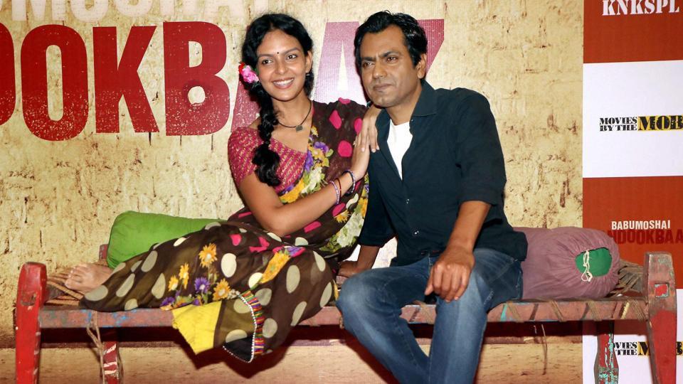 Actors Nawazuddin Siddiqui and Bidita Bag during the trailer launch of their film Babumoshai Bandookbaaz in Mumbai.