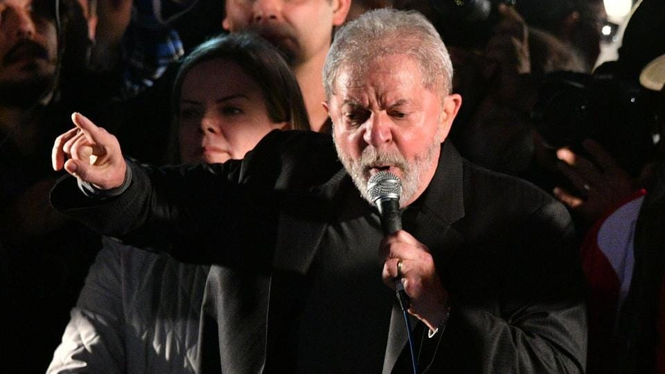 Brazilian former President Luiz Inacio Lula da Silva takes part in a protest against the labour and security reforms and the government of president Michel Temer in Sao Paulo, Brazil, on July 20, 2017.