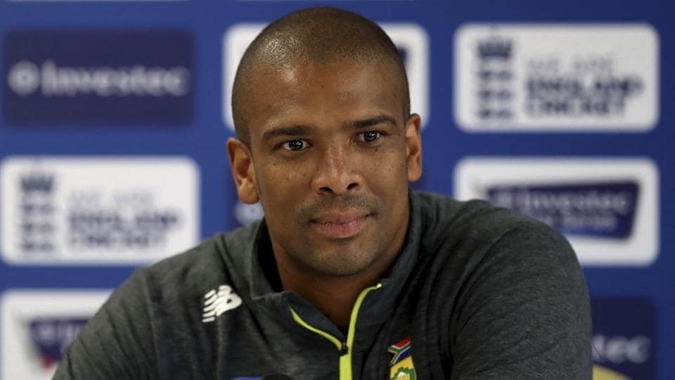 South Africa's Vernon Philander attends a press conference at Old Trafford in Manchester on Wednesday.