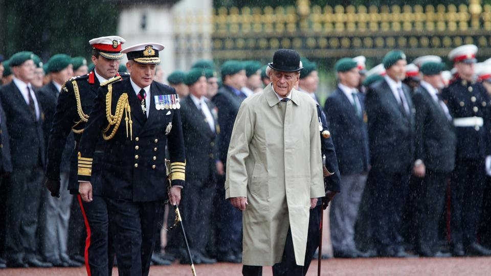 Britain's Prince Philip, Duke of Edinburgh, in his role as captain general of Royal Marines attends a Parade to mark the finale of the 1664 Global Challenge on the Buckingham Palace Forecourt in London on Wednesday.
