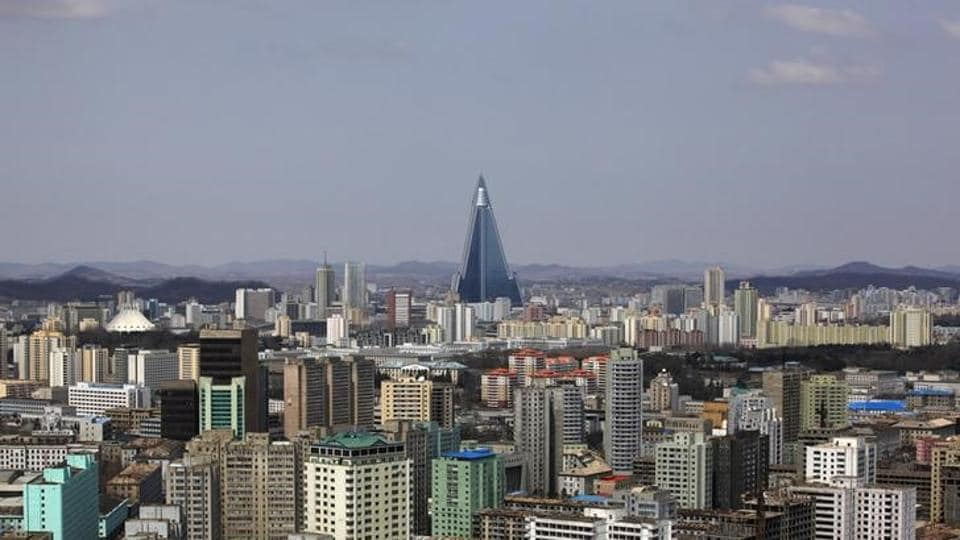 The 105-storey Ryugyong Hotel, the highest building under construction in North Korea, is seen in Pyongyang. The ban is to remain in effect for one year, unless it is revoked sooner by US secretary of state Rex Tillerson.