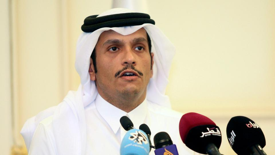Qatar's foreign minister Sheikh Mohammed bin Abdulrahman al-Thani attends a press conference in Doha.