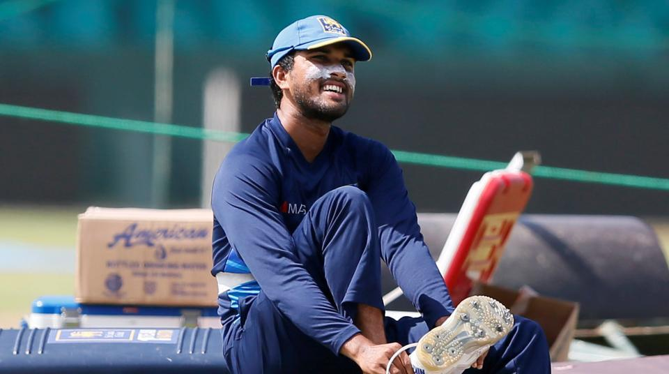 Sri Lanka captain Dinesh Chandimal during practice ahead of the second Test against India at Colombo.