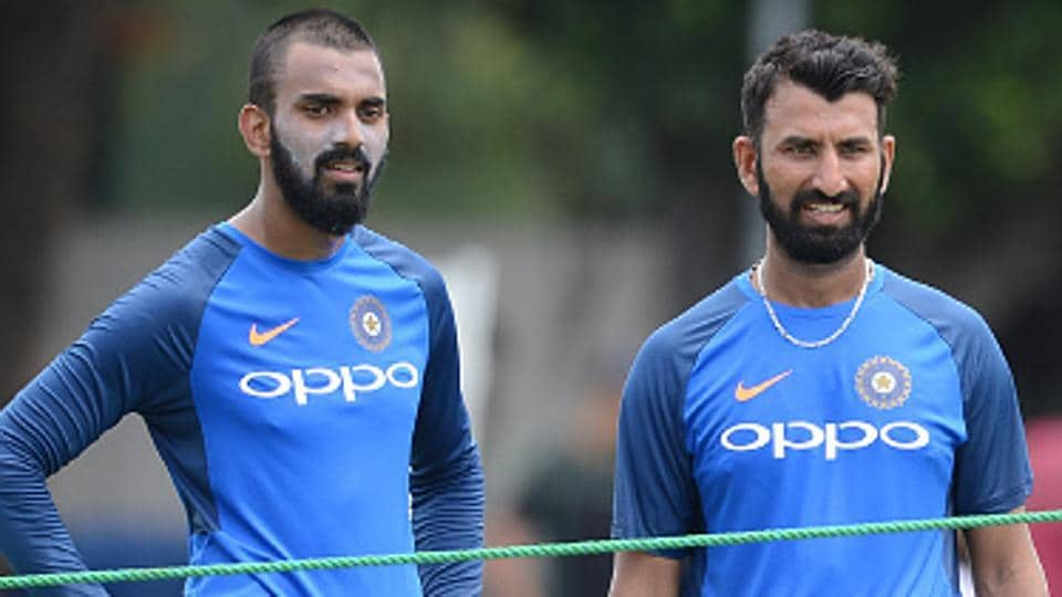 Indian cricket team playersCheteshwar Pujara (R) and KLRahul wait for their turn during the nets session at the Sinhalease Sports Club (SSC) Ground in Colombo on Tuesday. The second Test between Virat Kohli-led India and Sri Lanka national cricket team starts onThursday.
