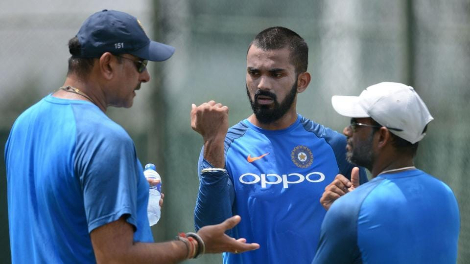 India coach Ravi Shastri gives instructions to KL Rahul during a practice session at the Sinhalease Sports Club Ground in Colombo.  (AFP)