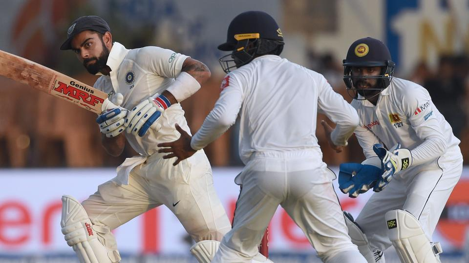 Indian cricket team captain Virat Kohli (L) may have to change his team combination for the second Test against Sri Lanka after the change in the nature of the wicket.