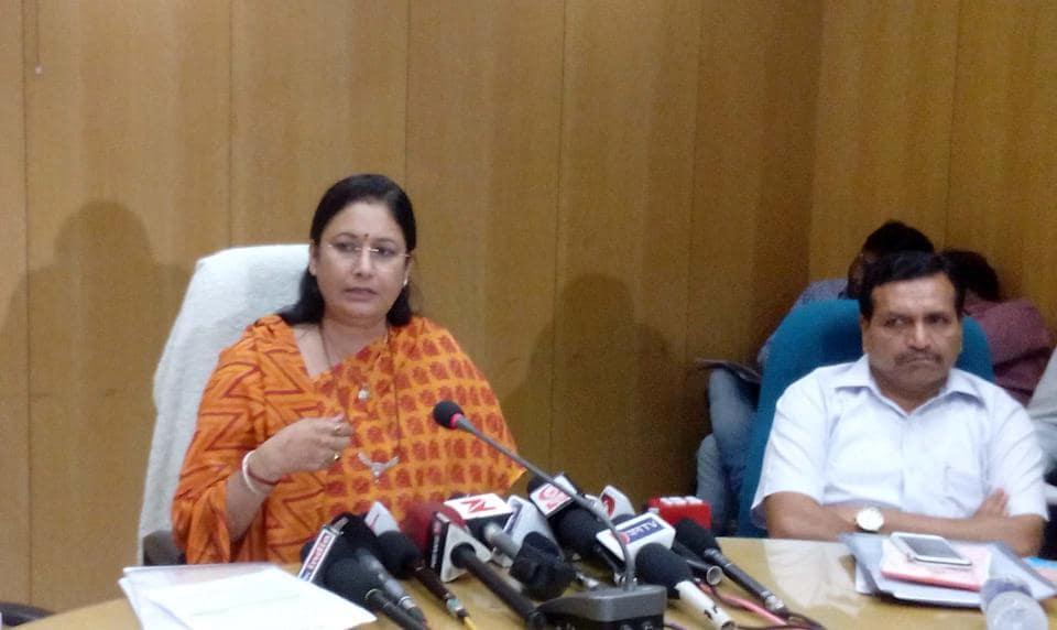 Kiran Maheshwari, state minister for higher, technical and Sanskrit educaiton, addressing a press conference at Shiksha Sankul in Jaipur on Wednesday.