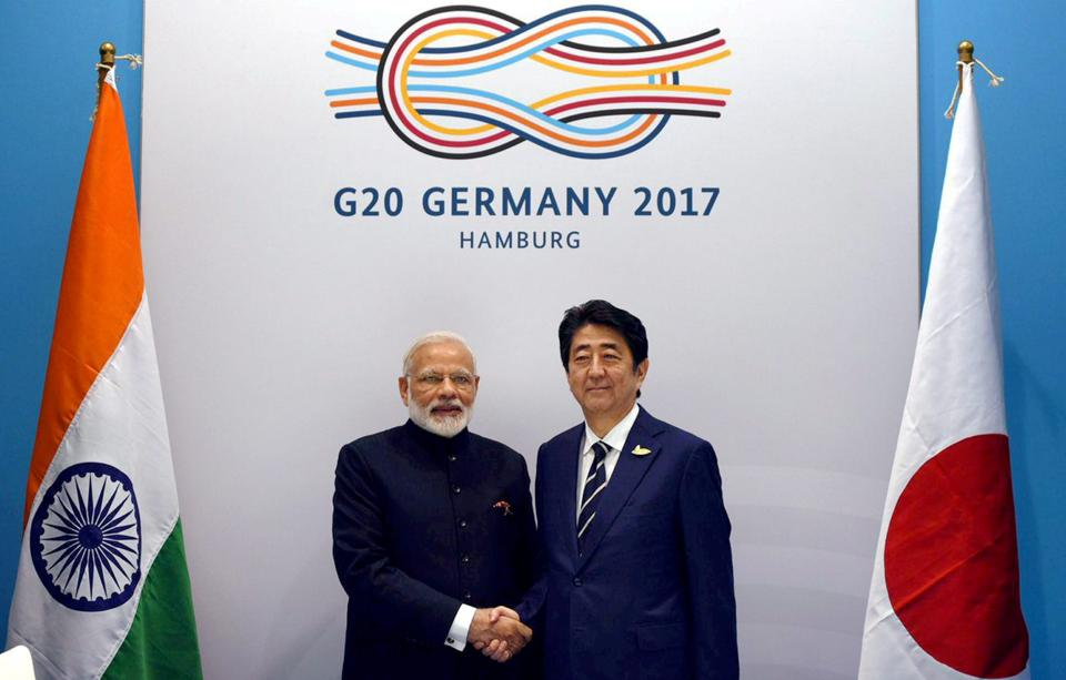 Prime Minister Narendra Modi with his Japanese counterpart Shinzo Abe at the G20 Summit in Hamburg, Germany, last month.