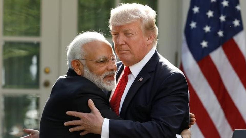 Prime Minister Narendra Modi hugs US President Donald Trump during his visit to the US recently.