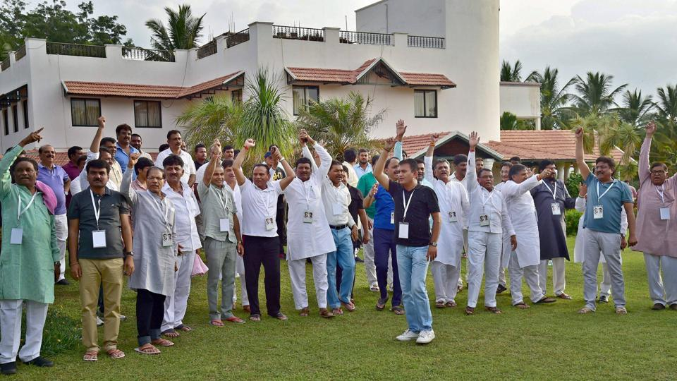 Gujarat Congress MLA's at a press conference at a resort on the outskirts of Bengaluru.