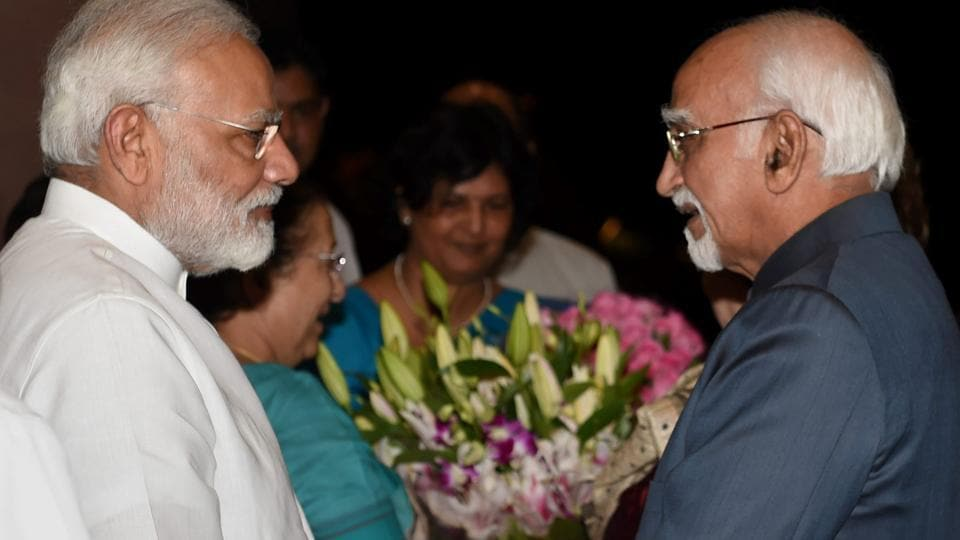 Vice-President Hamid Ansari being greeted by Prime Minister Narendra Modi during a farewell dinner hosted by Lok Sabha speaker Sumitra Mahajan at Parliament in New Delhi on Wednesday.